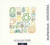 ecology integrated thin line... | Shutterstock .eps vector #334253561