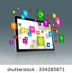 3d digital tablet with flying... | Shutterstock . vector #334285871