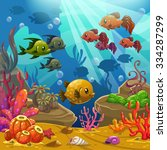 underwater world  cartoon... | Shutterstock . vector #334287299