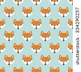 seamless orange foxes cute kids ... | Shutterstock .eps vector #334290257