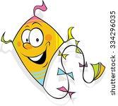 orange funny kite flying  ... | Shutterstock .eps vector #334296035