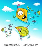 kite flying on blue sky  ... | Shutterstock .eps vector #334296149