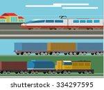 railway design concept set with ...
