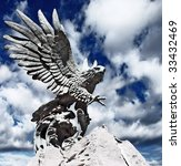 Statue Of Fish Hunting Eagle...