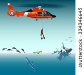Red Rescue Helicopter And...