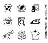 Set Of Laundry Icons With  ...