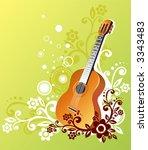 guitar on a green background...   Shutterstock .eps vector #3343483