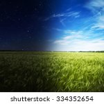 green field in day and night. | Shutterstock . vector #334352654