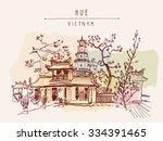 hue  vietnam  southeast asia.... | Shutterstock .eps vector #334391465