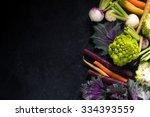 market fresh vegetables border... | Shutterstock . vector #334393559