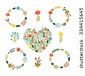 set of floral wreath with cute... | Shutterstock .eps vector #334415645