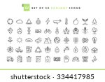 set of 50 ecology icons  thin...