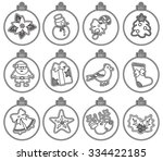 christmas decorations. vector... | Shutterstock .eps vector #334422185