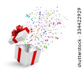 opened 3d realistic gift box... | Shutterstock .eps vector #334422929