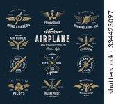 vintage vector airplane labels...   Shutterstock .eps vector #334423097
