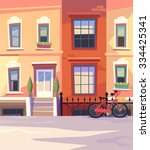 sunny city street with a city... | Shutterstock .eps vector #334425341