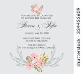 invitation or wedding card with ... | Shutterstock .eps vector #334433609