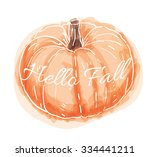 cute hand drawn watercolor... | Shutterstock .eps vector #334441211