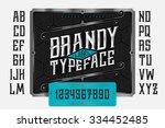 vintage brandy label typeface... | Shutterstock .eps vector #334452485
