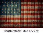 Usa Flag Painted On Old Wooden...