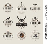 set of hunting and fishing... | Shutterstock .eps vector #334479521