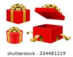 red gift boxes and with golden... | Shutterstock .eps vector #334481219