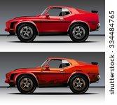 vector modern cartoon car ... | Shutterstock .eps vector #334484765