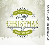 merry christmas greeting card.... | Shutterstock .eps vector #334485701