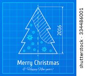 christmas tree sketch on blue... | Shutterstock .eps vector #334486001