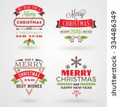 set of merry christmas and... | Shutterstock .eps vector #334486349