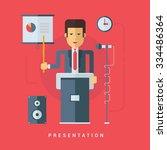 businessman giving a... | Shutterstock .eps vector #334486364