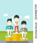 three asian male athletes with... | Shutterstock .eps vector #334486709