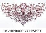 vintage floral highly detailed... | Shutterstock .eps vector #334492445