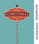 retro winter banner with a... | Shutterstock .eps vector #334499159