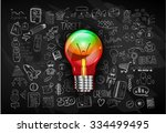 idea concept with light bulb... | Shutterstock . vector #334499495