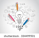 idea concept with light bulb... | Shutterstock . vector #334499501
