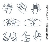 hand gestures icons  clapping ... | Shutterstock .eps vector #334499651
