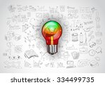 idea concept with light bulb... | Shutterstock . vector #334499735