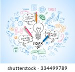 idea concept with light bulb... | Shutterstock . vector #334499789