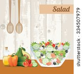 fresh vegetables salad with... | Shutterstock .eps vector #334507979