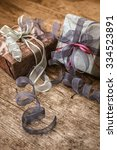 vintage gift box package ... | Shutterstock . vector #334523891