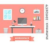 modern workspace flat... | Shutterstock .eps vector #334526579