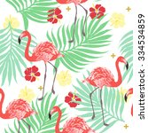 vector tropical exotic seamless ... | Shutterstock .eps vector #334534859