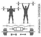 push press  shoulder press .... | Shutterstock .eps vector #334550834