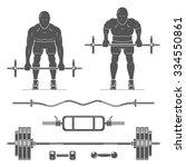 standing bent over barbell row. ... | Shutterstock .eps vector #334550861