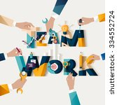 teamwork concept. typographic... | Shutterstock .eps vector #334552724