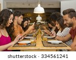 group of friends at a... | Shutterstock . vector #334561241