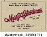 retro vintage merry christmas... | Shutterstock .eps vector #334566491