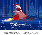 funny santa with presents on... | Shutterstock .eps vector #334567364