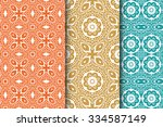 seamless floral geometric... | Shutterstock .eps vector #334587149